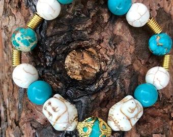 Buddha head magnetite bracelet