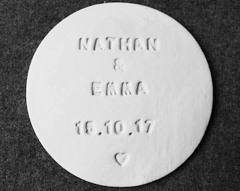 Personalised Wedding Favour Coasters Keepsakes White (min order 20)