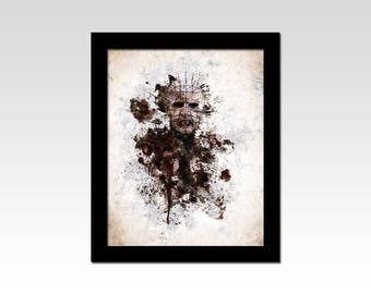 Hellraiser inspired Pinhead dark watercolour effect print