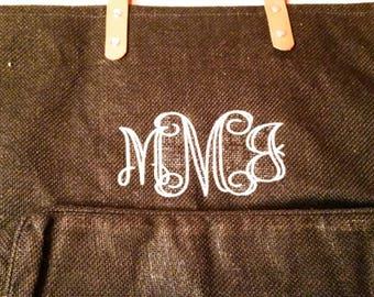 Black Jute Tote - Monogram Tote Bag - Burlap Tote Bag - Monogram Beach Bag - Burlap Beach Bag - Monogram Beach Tote - Monogram Gift