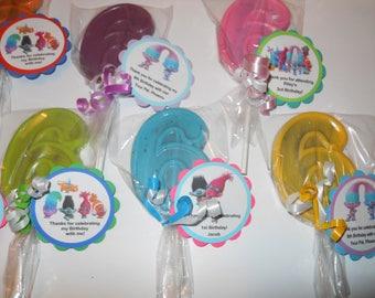12 Trolls 6th Birthday Party Favors Dreamworks Trolls theme Gourmet Chocolate lollipops with custom tags