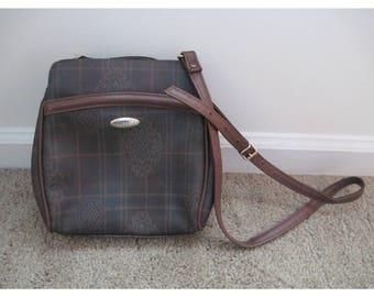 Vintage 1960s Liz Claiborne Plaid Baroque Print Dark Brown Faux Leather Shoulder Handbag Purse Bag Fashion Accessory