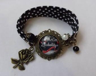 "Bracelet fabric edge bronze glass cabochon 20mm ""Evil"" theme."