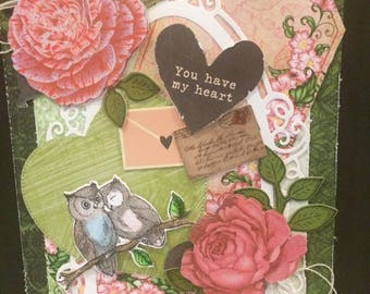 handmade love card, Valentines Day card, Anniversary card, owl love card, shabby chic romantic card, card for a girlfriend or boyfriend, 3D