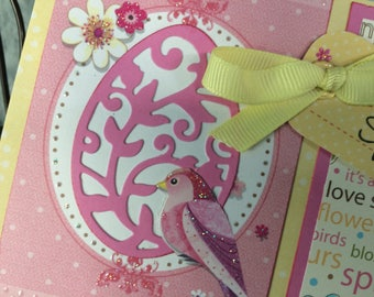 Handmade Easter Card, Easter blessings, Happy Easter,  Happy Spring card, spring Easter card, Easter egg card,