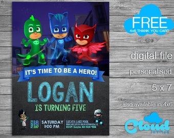 PJ Masks, Pj Mask Invitation, Pj mask birthday invitation, Pj mask party, Birthday Printables