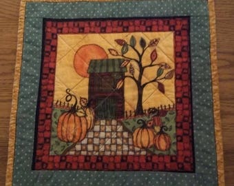 Autumn Country Pumpkin Quilted Table Topper, Quilted Table Topper, Pumpkin-thTable Topper, Quilted Placemat, Quilted Snack Mat, Item 1206A
