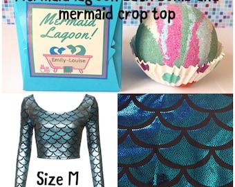 Mermaid lagoon bath bomb and mermaid crop top size M (uk 10)