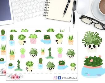Succulents Planner Sticker, Cute Animal Planter Stickers, Desert Plant Sticker, Scrapbook Sticker, Planner Stationary Accessory - 20 Sticker