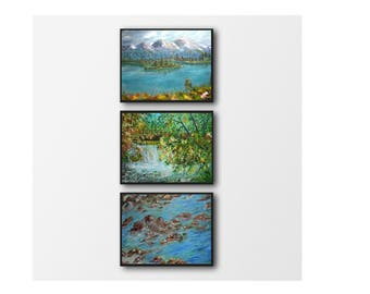set of 3 wall art - set of 3 art print - landscape painting printable - office decor gift - Instant printable wall art- painting printable
