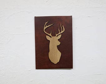 Leather Backed Profile Stag Art