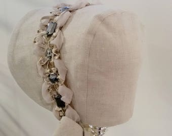 baby bonnet with gorgeous lace detail
