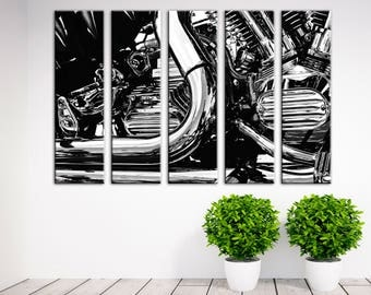 Motorbike Wall Art Multi Panel canvas Bike Canvas Print Train Wall decor Canvas wall art Set Living room decor Motorbike black & white decor