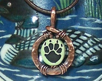 Fun Paw Print and Hammered Copper Pendant, Green