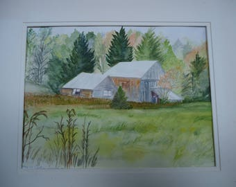 Original watercolor painting, Barns in Eastern Quebec, by retired Canadian opera singer Eva Beames