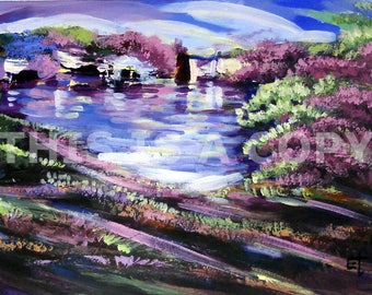 LAKE SIDE: Downloadable Authentic African Painting Direct From The Artist