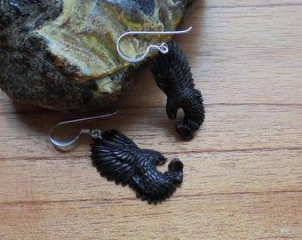 Hand Carved Eagle Earrings, Black Eagle, Buffalo Horn Jewelry E03