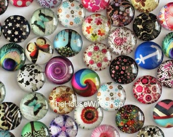 50pcs/lot12mm Mixed Style Round Glass Cabochon Dome Cameo Jewelry Finding