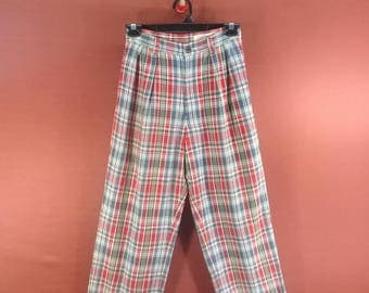 Vintage 45 rpm Studio Pant Flannel Design Multicolour Size M Comme des Garcon Issey Miyake Pants Casual Slack Pants Flannel