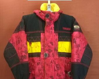 Vintage Yamaha Ski Team Hoodie Jacket Yamaha Sweater Ski Jacket Red Yellow Black Cross Colour Ski Team Jacket Moncler Jacket Down Jacket