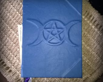 Large Triple Moon Pentacle design Book of Shadows w/aged pages