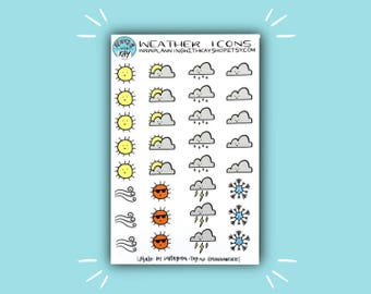 Weather Icons | Weather Planner Sticker | Bullet Journal Stickers | Stickers for Planners & Journals | Journaling Supplies