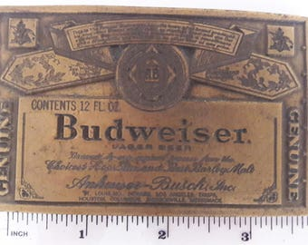 Vintage Budweiser Brass Belt Buckle