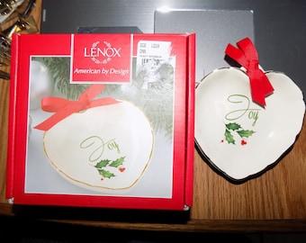 Vintage Lenox Heart w/ Ribbon Joy Candy Dish w/ Box 4 Inches Perfect