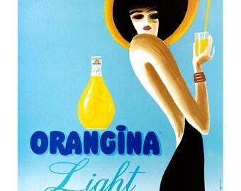 """Very nice light vintage """"orangina"""" poster."""