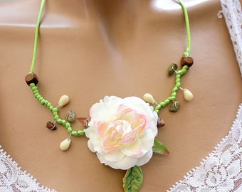 Spring Green necklace was big fabric flower
