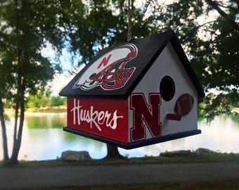 Football Birdhouse, Football Decor, Custom Sports Team Birdhouse, Nebraska