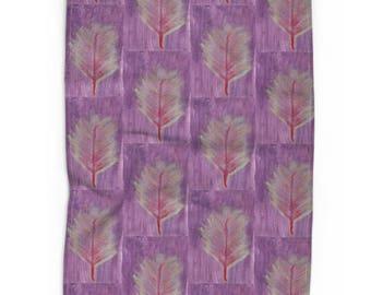 Tea Towel- Palm Leaf Mint & Red on Purple