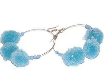 Handmade Blue PomPom Hoop Earrings with Beads