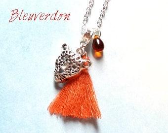 Orange leopard and tassel necklace