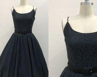 Late 1940s new look dress - 1950s vintage dress - Black Lace vintage dress - 1950s black dress -vintage dresses for women