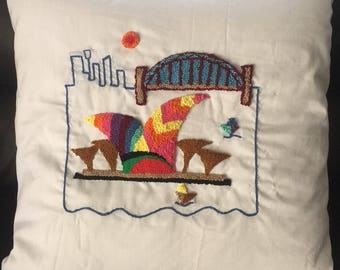 Sydney Harbour, Australia - Punch Embroidery Cushion/ Pillow Cover