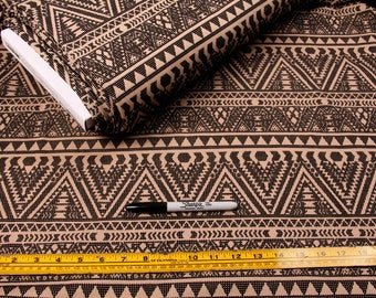 6 Yards, Fabric, Brown Polyester, Stretchy, Tribal, Beige