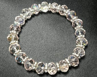 Sparkling Pink Crystal bracelet with Silver Accents