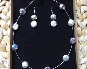 Natural Fresh Water Pearls Silver Wire Nacklace