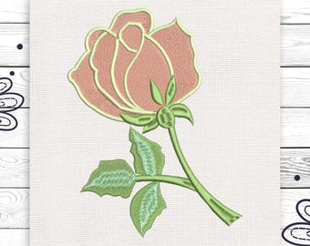 Pink rose embroidery Machine digital design 4 sizes INSTANT DOWNLOAD EE5091