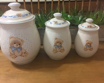 """Theodore """"Teddy"""" Country Bear Stoneware Canisters by Tienshan"""
