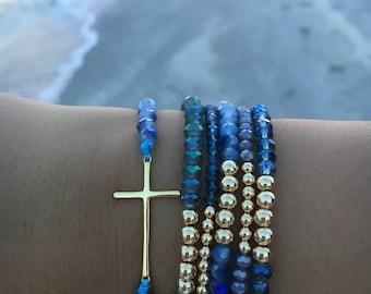 Assorted Blue Beads Bracelet Set