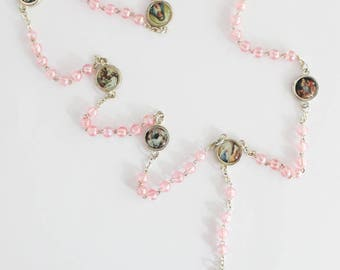 Rosary Our Lady The Seven Sorrows Pink Pearl Beads Mater Dolorosa Servite Rosary