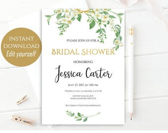 Bridal Shower Invitation Editable Template Bridal Shower Printable Floral Bridal Shower Bridal Invitation PDF Instant Download 4x9 Jasmine