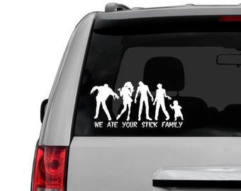 Zombie Family car window decal laptop sticker