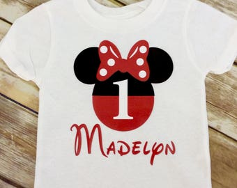 Any Age Red or Pink Minnie Mouse Birthday Shirt, Red Minnie First Birthday Shirt, 1st Birthday Shirt Minnie Mouse, Minnie Birthday T Shirt