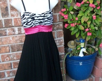 Hot Pink and Black Zebra Empire Waist Spaghetti Strap Party Dress Small