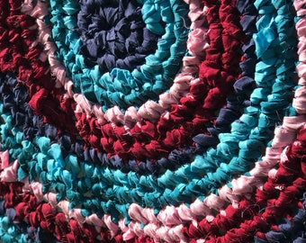 39 inch Turquoise Crocheted Round Rag Rug