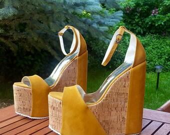 Cork Look High Heel Platform Wedges
