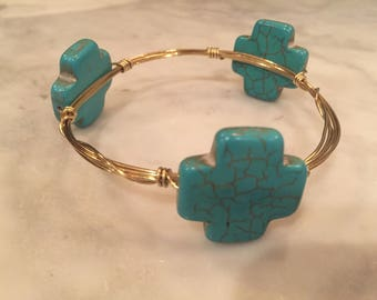 Gold Wire Bangle with Large Turquoise Crosses